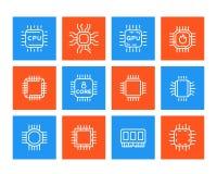 Chipset, microchip, cpu line icons set Stock Photos