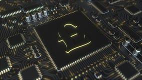 Chipset mit GBP-Pfundsymbol Fintech bezog sich Begriffs-Wiedergabe 3D Lizenzfreie Stockbilder