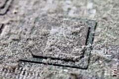 Chipset no cartão-matriz com poeira Imagens de Stock