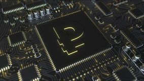 Chipset with Russian ruble symbol. Fintech related conceptual 3D animation stock footage