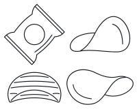Chipsymbolsuppsättning, översiktsstil royaltyfri illustrationer