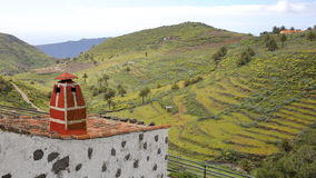 CHIPUDE, LA GOMERA, SPAIN: Green landscape and terraced fields from Chipude with a traditional house in the foreground stock images