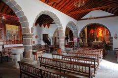 CHIPUDE, LA GOMERA, SPAIN - MARCH 24, 2017: The interior of the church of Chipude la Iglesia de la Virgen de la Candelaria royalty free stock photography