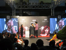 Chirag Bamboat with Model at Beauty Expo. Venue- Professional Beauty Expo, Mumbai Date - 6th October 2015 royalty free stock images