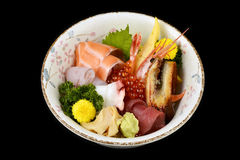 Chirashi sashimi don or mixed fresh sea food on rice in ceramic of Japanese tradition cuisine food Royalty Free Stock Image