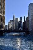 Chircago River from the LaSalle Street Bridge. This is a Winter picture of the ice strewn Chicago River looking East from the LaSalle Street Bridge located in royalty free stock images