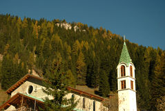 Chirch in the dolomiots Stock Photography
