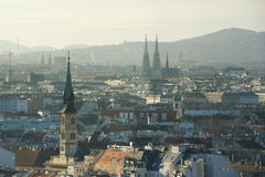 Chirches and houses roofs from above, Vienna, Austria Royalty Free Stock Photography