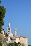 Chirches op eiland Rab in Adriatische overzees Royalty-vrije Stock Afbeelding