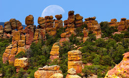 Chiricahua national monument moon Royalty Free Stock Photos