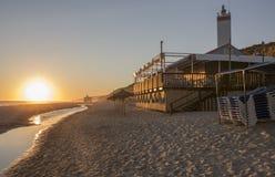 Chiringuito lub plaża bar przy Costa De Los angeles Luz seashore, Hiszpania obraz royalty free