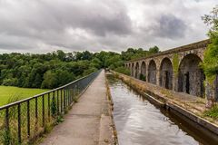 Chirk мост-водовод & виадук, Wrexham, Уэльс, Великобритания Стоковые Фотографии RF
