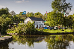 Chirk Canal Marina. Chirk Marina with narrowboats moored up a boat  hire repair fuelling and maintenance centre on the Llangollen canal in Wales UK Royalty Free Stock Photo