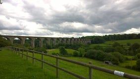Chirk Eisenbahnbrücke in Wales lizenzfreie stockfotografie