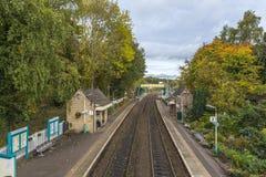 Chirk stationen i höst Royaltyfri Foto