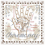 Chiromancy chart with palm, lines and mystic symbols Stock Photography