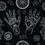 Chiromancy seamless background with human hands and mystic symbols Stock Photos