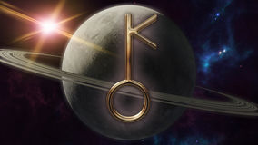 Chiron zodiac horoscope symbol and planet. 3D rendering. 3D rendering image of a brilliant gold Chiron zodiac horoscope symbol. An astrology sign on the Stock Image