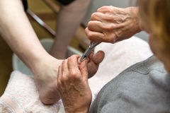 Chiropodist with a nail scissors Royalty Free Stock Photo