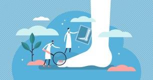 Chiropodist vectorillustratie Het vlakke uiterst kleine concept van de de ziektepersoon van de voetenkel stock illustratie