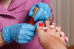 Chiropody Spa salon. Applying gel nail polish. Royalty Free Stock Image