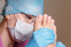 Chiropody Spa salon. Removal of calluses and corns. Stock Photo