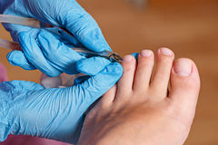 Chiropody Spa salon. Removing cuticle. Stock Images