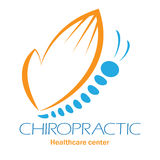 Chiropractic clinic logo with butterfly, symbol of hand and spin Stock Image