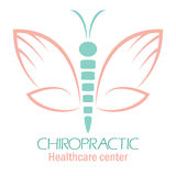 Chiropractic clinic logo with butterfly, symbol of hand and spin Royalty Free Stock Photos