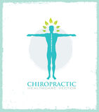 Chiropractic, massage, back pain and osteopathy icon stock illustration