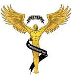 Chiropractic zdrowie anioła Złocisty mężczyzna ilustracja wektor