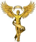 Chiropraktik-Zeichen - Gold lizenzfreie stockbilder