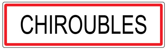 Chiroubles city traffic sign illustration in France Royalty Free Stock Image