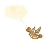 Chirping little bird retro cartoon. Retro cartoon with texture. Isolated on White Stock Image