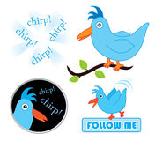 Chirping twitter birds. Chirping twitter bird sketches for social media concepts isolated on white Stock Photos