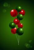 Chirstmas气球党背景 红色和绿色传染媒介我 库存图片
