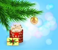 Chirstmas alegre, composição com caixa de presente, ramos de árvore do abeto, envelope e brinquedo no fundo azul com bokeh ilustração royalty free