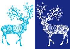 Chirstmas azules ciervos, sistema del vector Imagen de archivo libre de regalías