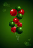 Chirstmas balloon party background. Red and green color vector i Stock Image