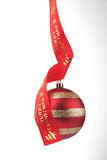 Chirstmas bauble with red ribbon. Writing merry Christmas Stock Images