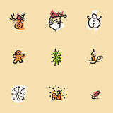 Chirstmas Chinese brush icon drawing Stock Photography