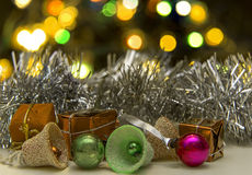 Chirstmas. Christmas decorations with out of focus bokeh chrismas tree lights Stock Photography