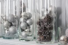 Chirstmas decoration with the pine cones and balls in glass bulbs. Chirstmas decoration with the pine cones and balls in glass bulbs Stock Photos