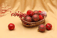 Chirstmas decorations and ornaments. Christmas background with ornaments and decorations Royalty Free Stock Photo