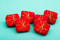 Chirstmas gifts. Christmas gifts on blue background Royalty Free Stock Photography