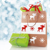 Chirstmas gifts in a decorated shopping bag Stock Photos