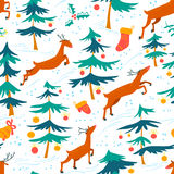 Chirstmas seamless pattern with cute deers and decorated pine tr Royalty Free Stock Photo