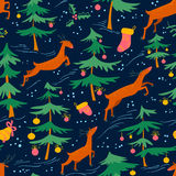 Chirstmas seamless pattern with cute deers and decorated pine tr Royalty Free Stock Photos
