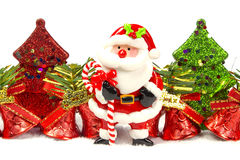 Chirstmas tree, bell, santa claus. On white background Stock Photo