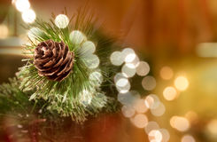 Chirstmaspine cone. Decorative pine cone, a fake oune tieh some fake needles as a table top centerpiece decoration Royalty Free Stock Photography